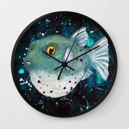 Friendly Green Fugu Redux Wall Clock