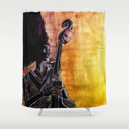 Make Coffee Love and Jazz Shower Curtain