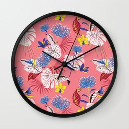 Pink monstera & orchid print Wall Clock