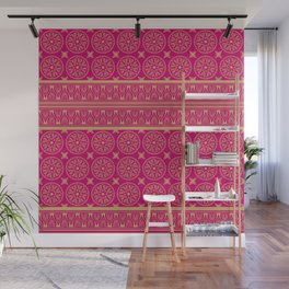 African Ethnic Tribal Hot Pink Pattern Wall Mural