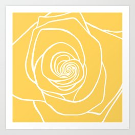 Sunshine Yellow Rose Drawing Art Print