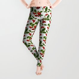 Vintage Botanical Cherries Print on White Leggings
