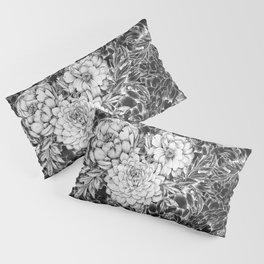 Dahlias & Peonies Black Pillow Sham