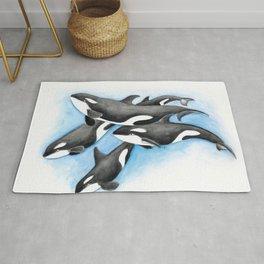 Orca Whales Pod Rug