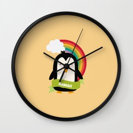 Penguin Rainbow from Hawaii  T-Shirt for all Ages Wall Clock