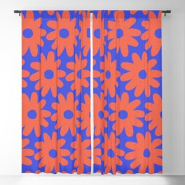 Crayon Flowers 3 Cheerful Smudgy Floral Pattern in Coral and Bright Blue Blackout Curtain