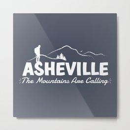 Asheville - The Mountains Are Calling - AVL 2 White On Dark Grey Metal Print