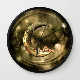 Steampunk lady  in the night Wall Clock