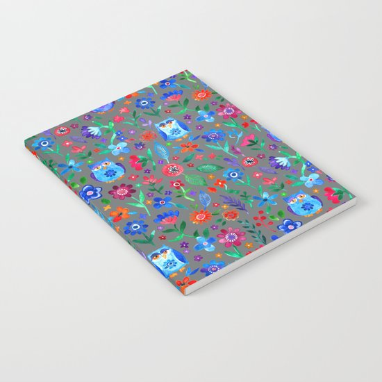 Little Owls and Flowers on Grey Notebook