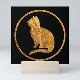 Golden cat silhouette B-I Mini Art Print