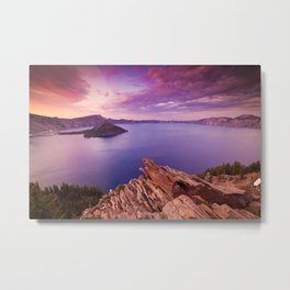 Crater Lake Sunset Metal Print