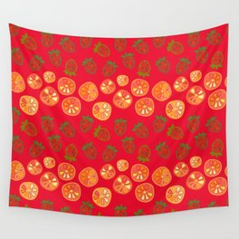 strawberries and orange slices Wall Tapestry