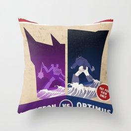 Optimus Prime vs Megatron Fight Poster Throw Pillow