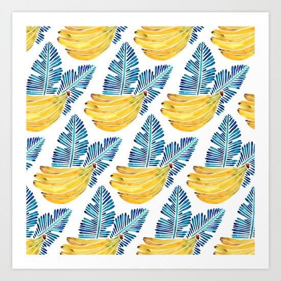 Banana Bunch – Navy Leaves Art Print