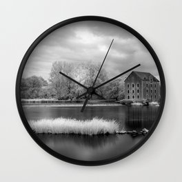 France, A Weir on the Mayenne River (version 2) Wall Clock