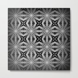Black Slate Gray Pattern Metal Print