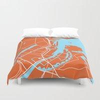 copenhagen Duvet Covers featuring Copenhagen Map by Studio Tesouro