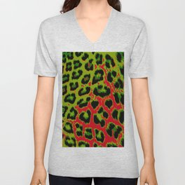 Red and Apple Green Leopard Spots Unisex V-Neck