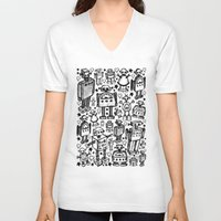 it crowd V-neck T-shirts featuring Robot Crowd by Roseanne Jones