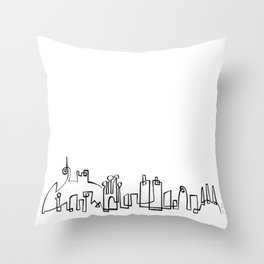 Barcelona Skyline in one draw Throw Pillow