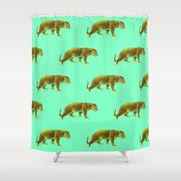 Vintage Cheetahs in Mint Shower Curtain