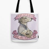 patriarchy Tote Bags featuring Pups against the Patriarchy  by Cesca Summers