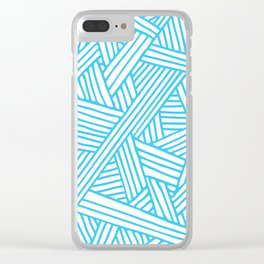 Abstract Teal & white Lines and Triangles Pattern - Mix and Match with Simplicity of Life Clear iPhone Case