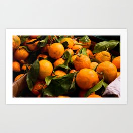 A Photo of Oranges with Green Stems Art Print