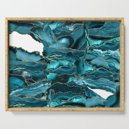 Blue and Gold Agate Serving Tray