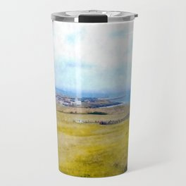 Dreamy landscape with sea view and grass field in Jeju island Travel Mug
