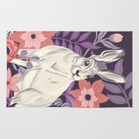 hare Area & Throw Rugs featuring Hare by Abbie Imagine