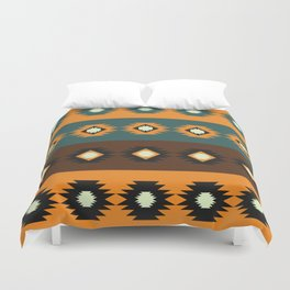 Stripes with native shapes Duvet Cover