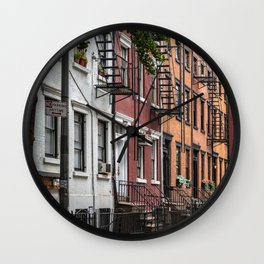 Picturesque street view in Greenwich Village, New York Wall Clock
