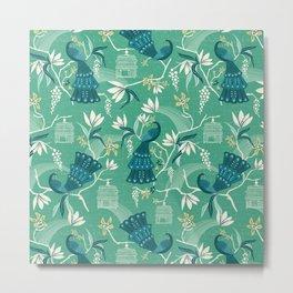 Aviary - Green Metal Print