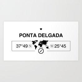 Ponta Delgada Azores with World Map GPS Coordinates Art Print
