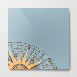 Ferris Wheel and Dusty Blue Sky Metal Print