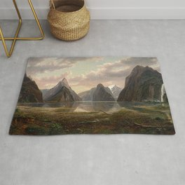 Milford Sound, New Zealand by Eu von Guerard  Romanticism  Landscape Rug