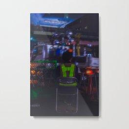 A man sits at the end of the world. Shibuya street cars. Metal Print