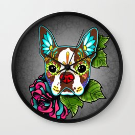 Boston Terrier in Red - Day of the Dead Sugar Skull Dog Wall Clock
