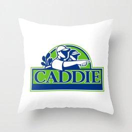 Professional Golfer and Caddie Retro Throw Pillow