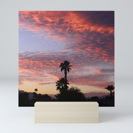 Scintillating Sunset Over Lush Desert Palm Trees Mini Art Print