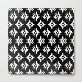 Mid Century Modern Bang Pattern 271 Black and White Metal Print