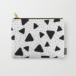Modern black white hand painted polka dots triangles Carry-All Pouch