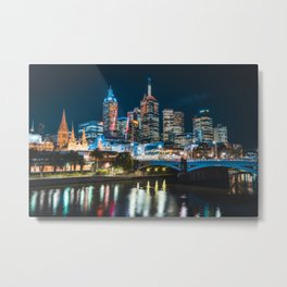 Melbourne by Night Metal Print