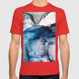 White Sand Blue Sea - Alcohol Ink Painting T-shirt