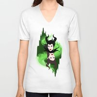 maleficent V-neck T-shirts featuring Maleficent by Pendientera