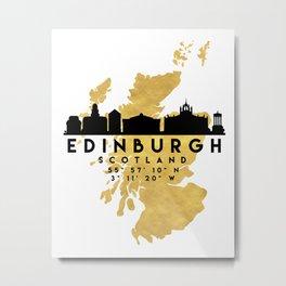 EDINBURGH SCOTLAND SILHOUETTE SKYLINE MAP ART Metal Print