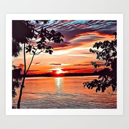 Jungle Sunset Airbrush Artwork Art Print