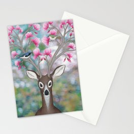 white tailed deer, black throated blue warblers, & magnolia blossoms Stationery Cards