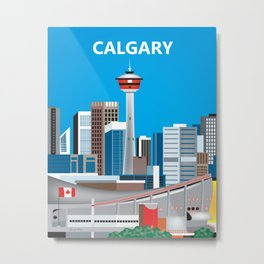 Calgary, Alberta, Canada - Skyline Illustration by Loose Petals Metal Print